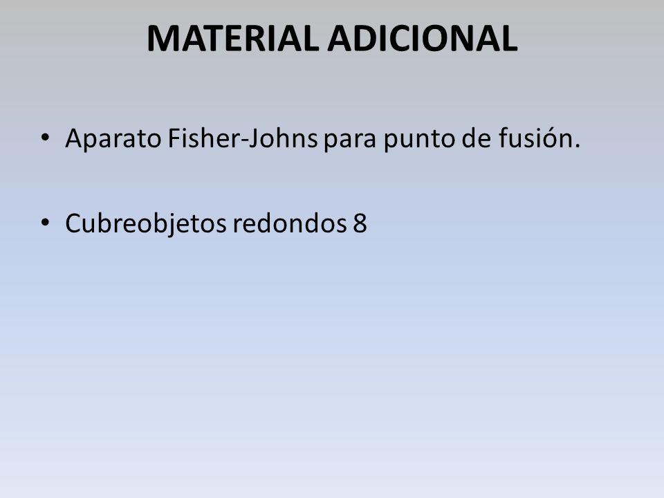 MATERIAL ADICIONAL Aparato Fisher-Johns para punto de fusión. Cubreobjetos redondos 8