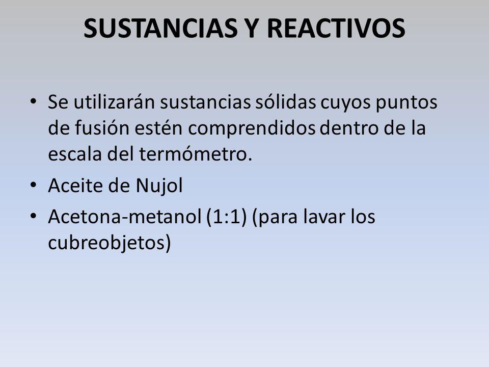 SUSTANCIAS Y REACTIVOS Se utilizarán sustancias sólidas cuyos puntos de fusión estén comprendidos dentro de la escala del termómetro. Aceite de Nujol