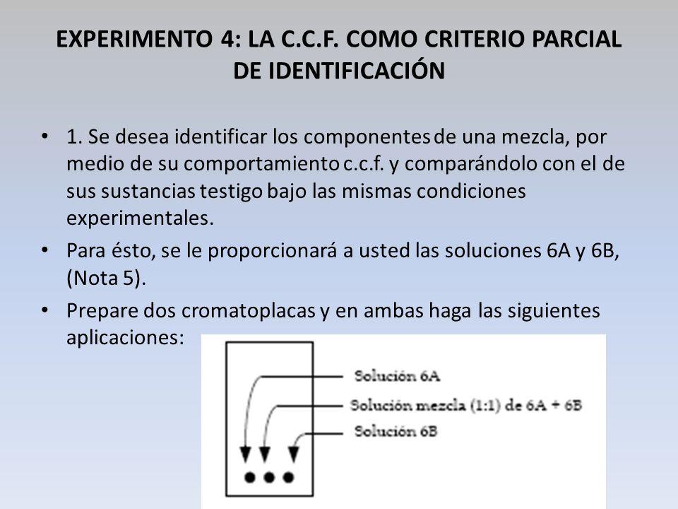 EXPERIMENTO 4: LA C.C.F. COMO CRITERIO PARCIAL DE IDENTIFICACIÓN 1. Se desea identificar los componentes de una mezcla, por medio de su comportamiento
