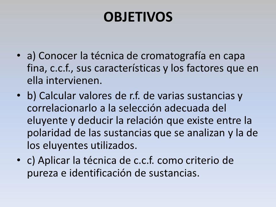 OBJETIVOS a) Conocer la técnica de cromatografía en capa fina, c.c.f., sus características y los factores que en ella intervienen. b) Calcular valores