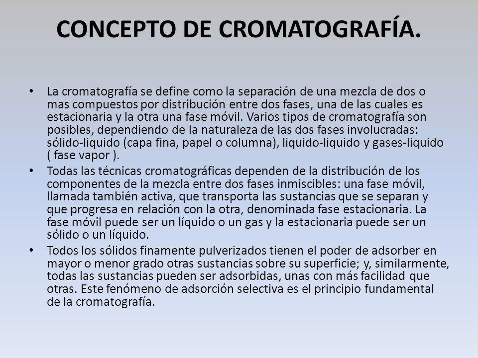 CONCEPTO DE CROMATOGRAFÍA. La cromatografía se define como la separación de una mezcla de dos o mas compuestos por distribución entre dos fases, una d