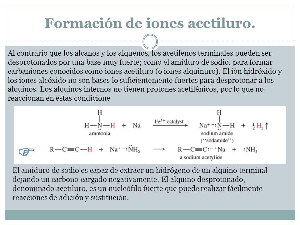 Iones acetiluro en reacciones S N 2.