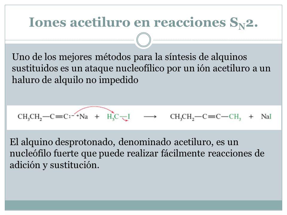 Alquilación de iones acetiluro Un ión acetiluro es una base fuerte y poderoso nucleófilo, puede desplazar a un ión haluro de un sustrato adecuado, dando lugar a un acetileno sustituido.