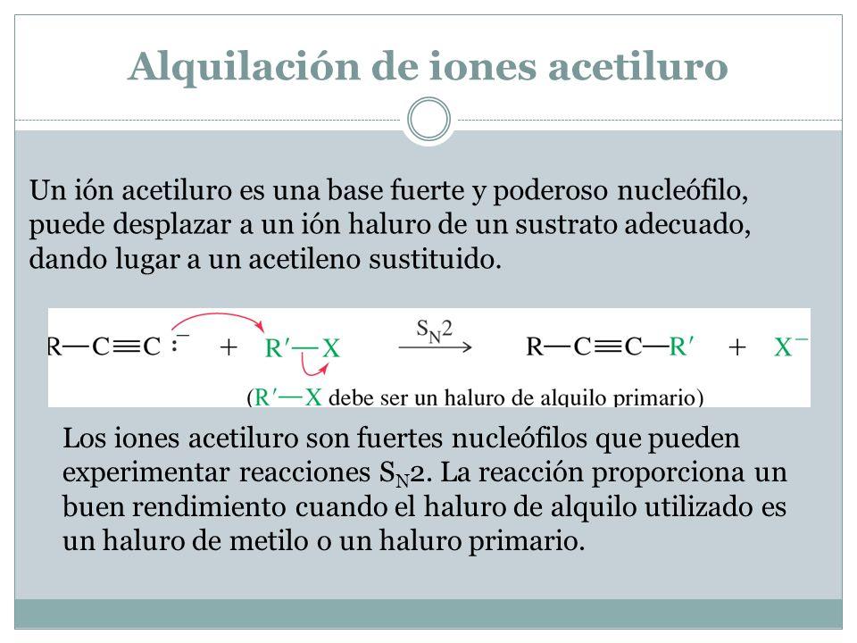 Adición de iones acetiluro a grupos carbonilo Igual que otros carbaniones, los iones acetiluro son nucleófilos fuertes y bases fuertes.