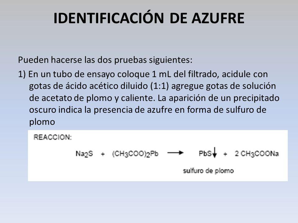 IDENTIFICACIÓN DE AZUFRE Pueden hacerse las dos pruebas siguientes: 1) En un tubo de ensayo coloque 1 mL del filtrado, acidule con gotas de ácido acét