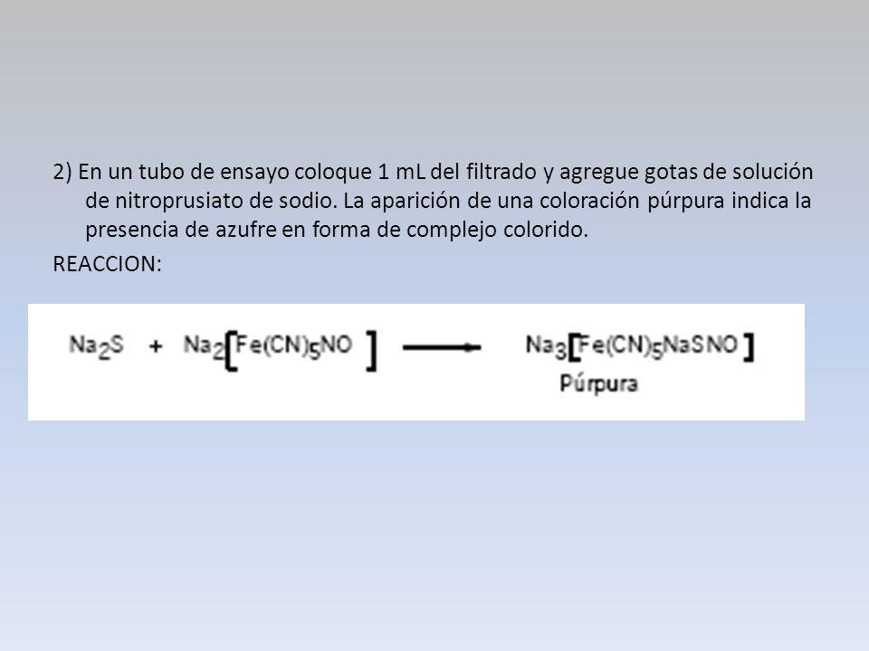 2) En un tubo de ensayo coloque 1 mL del filtrado y agregue gotas de solución de nitroprusiato de sodio. La aparición de una coloración púrpura indica