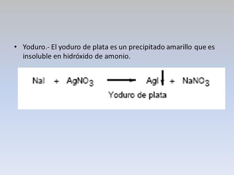 Yoduro.- El yoduro de plata es un precipitado amarillo que es insoluble en hidróxido de amonio.