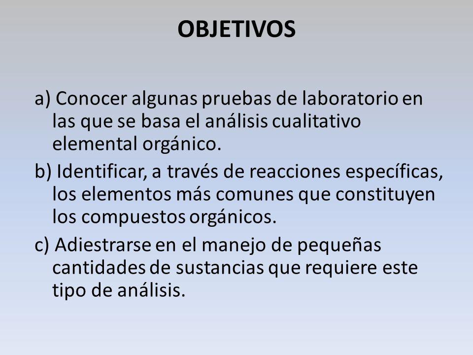 OBJETIVOS a) Conocer algunas pruebas de laboratorio en las que se basa el análisis cualitativo elemental orgánico. b) Identificar, a través de reaccio