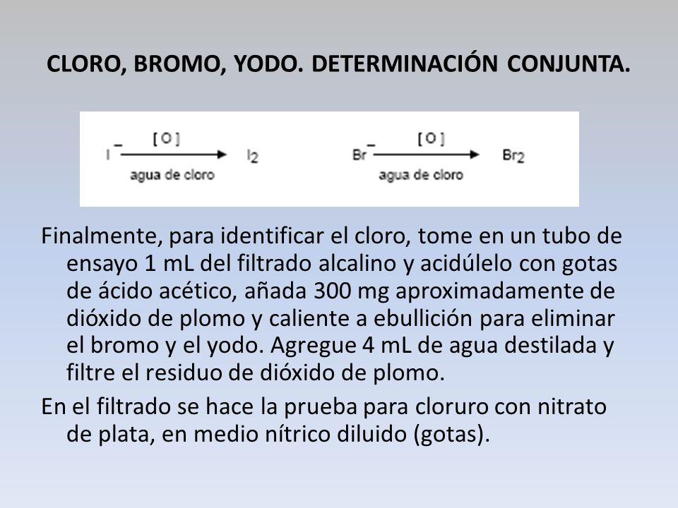 CLORO, BROMO, YODO. DETERMINACIÓN CONJUNTA. Finalmente, para identificar el cloro, tome en un tubo de ensayo 1 mL del filtrado alcalino y acidúlelo co