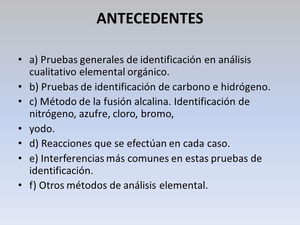 ANTECEDENTES a) Pruebas generales de identificación en análisis cualitativo elemental orgánico. b) Pruebas de identificación de carbono e hidrógeno. c