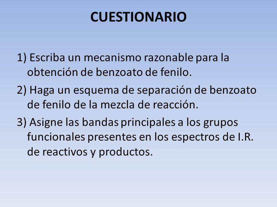 CUESTIONARIO 1) Escriba un mecanismo razonable para la obtención de benzoato de fenilo. 2) Haga un esquema de separación de benzoato de fenilo de la m
