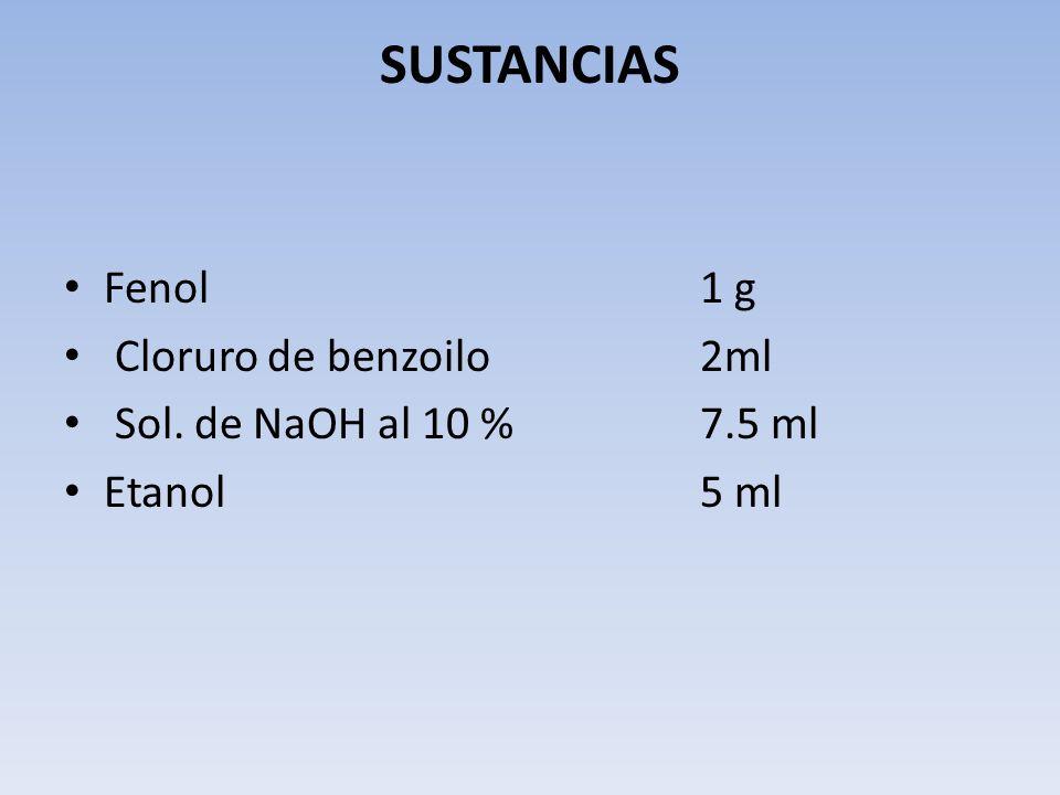 SUSTANCIAS Fenol 1 g Cloruro de benzoilo 2ml Sol. de NaOH al 10 % 7.5 ml Etanol 5 ml