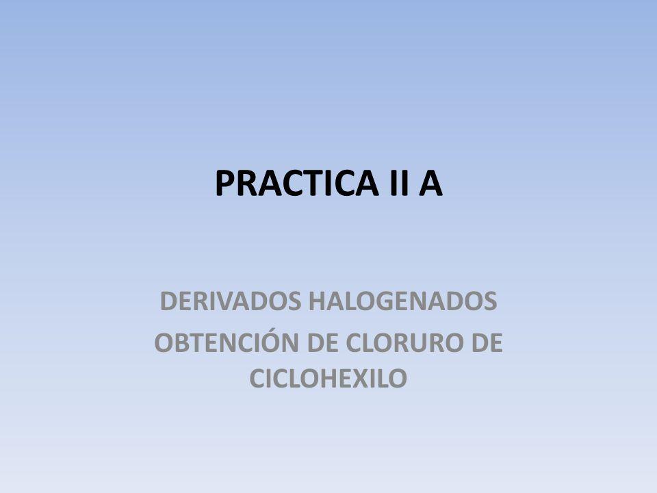 PRACTICA II A DERIVADOS HALOGENADOS OBTENCIÓN DE CLORURO DE CICLOHEXILO