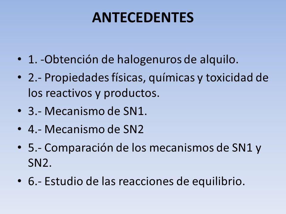 ANTECEDENTES 1. -Obtención de halogenuros de alquilo. 2.- Propiedades físicas, químicas y toxicidad de los reactivos y productos. 3.- Mecanismo de SN1