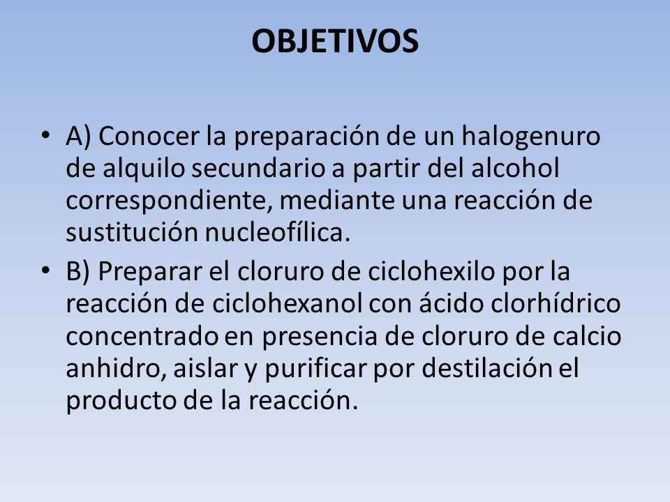 OBJETIVOS A) Conocer la preparación de un halogenuro de alquilo secundario a partir del alcohol correspondiente, mediante una reacción de sustitución