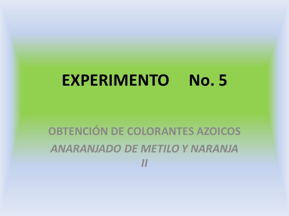 EXPERIMENTO No. 5 OBTENCIÓN DE COLORANTES AZOICOS ANARANJADO DE METILO Y NARANJA II