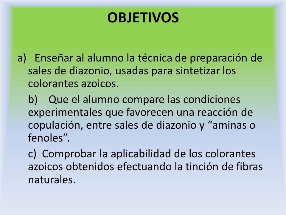 OBJETIVOS a) Enseñar al alumno la técnica de preparación de sales de diazonio, usadas para sintetizar los colorantes azoicos. b) Que el alumno compare