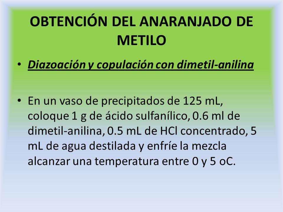 OBTENCIÓN DEL ANARANJADO DE METILO Diazoación y copulación con dimetil-anilina En un vaso de precipitados de 125 mL, coloque 1 g de ácido sulfanílico,