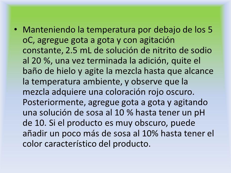 Manteniendo la temperatura por debajo de los 5 oC, agregue gota a gota y con agitación constante, 2.5 mL de solución de nitrito de sodio al 20 %, una