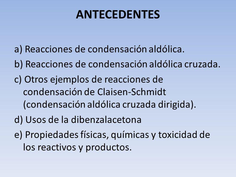 ANTECEDENTES a) Reacciones de condensación aldólica. b) Reacciones de condensación aldólica cruzada. c) Otros ejemplos de reacciones de condensación d