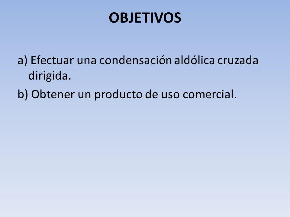 OBJETIVOS a) Efectuar una condensación aldólica cruzada dirigida. b) Obtener un producto de uso comercial.