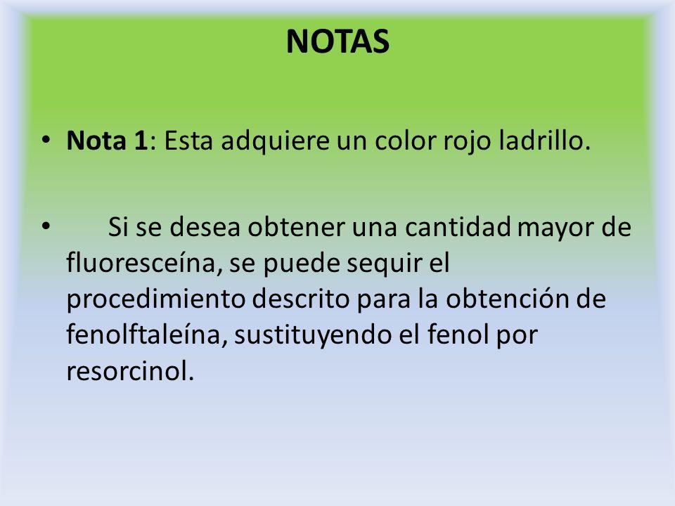 NOTAS Nota 1: Esta adquiere un color rojo ladrillo. Si se desea obtener una cantidad mayor de fluoresceína, se puede sequir el procedimiento descrito