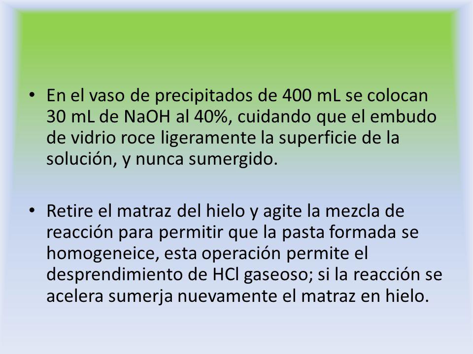 En el vaso de precipitados de 400 mL se colocan 30 mL de NaOH al 40%, cuidando que el embudo de vidrio roce ligeramente la superficie de la solución,