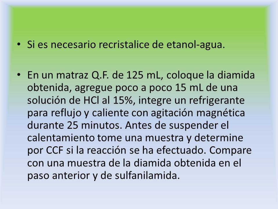 Si es necesario recristalice de etanol-agua. En un matraz Q.F. de 125 mL, coloque la diamida obtenida, agregue poco a poco 15 mL de una solución de HC