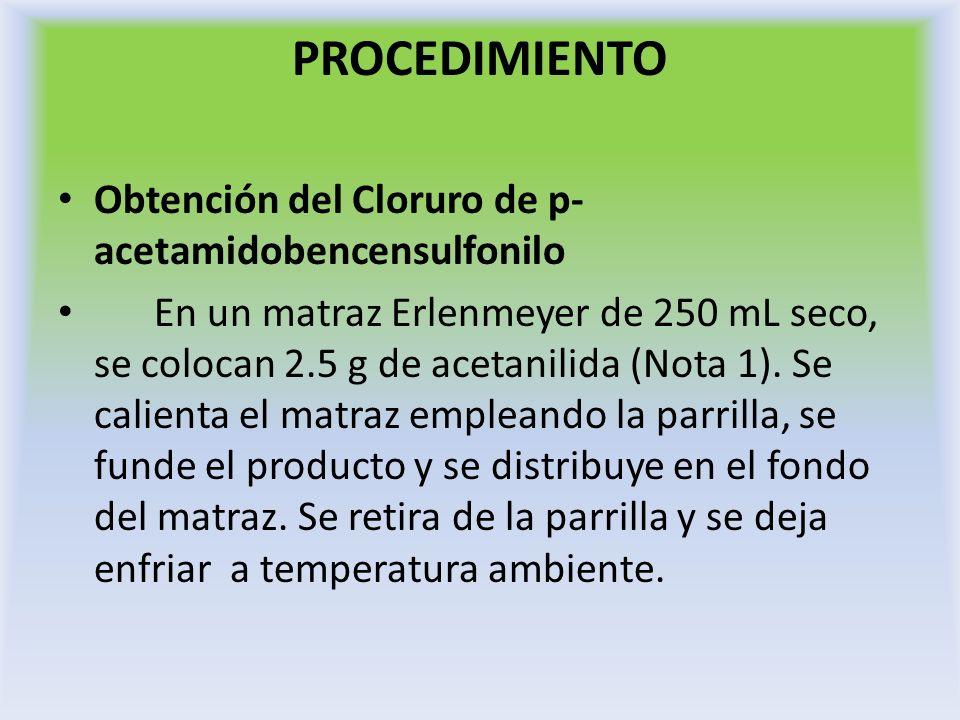 PROCEDIMIENTO Obtención del Cloruro de p- acetamidobencensulfonilo En un matraz Erlenmeyer de 250 mL seco, se colocan 2.5 g de acetanilida (Nota 1). S