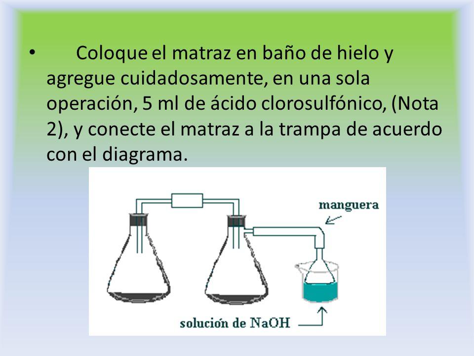 Coloque el matraz en baño de hielo y agregue cuidadosamente, en una sola operación, 5 ml de ácido clorosulfónico, (Nota 2), y conecte el matraz a la t