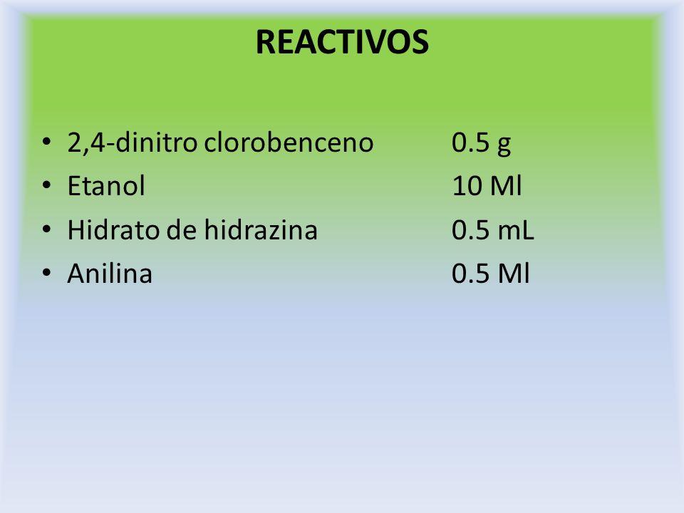 SÍNTESIS DE 2,4-DINITROFENIL HIDRAZINA En un matraz erlenmeyer de 50 mL disuelva 0.5 g de 2,4-dinitroclorobenceno en 3 mL de etanol de 96 %.