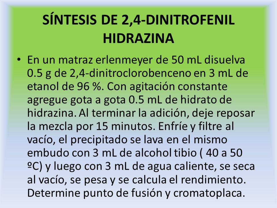 SÍNTESIS DE 2,4-DINITROFENIL ANILINA Coloque en un matraz erlenmyer de 50 ml, 10 ml de etanol, 0.5 g de 2,4-dinitroclorobenceno y 0.5 mL de anilina sin dejar de agitar.