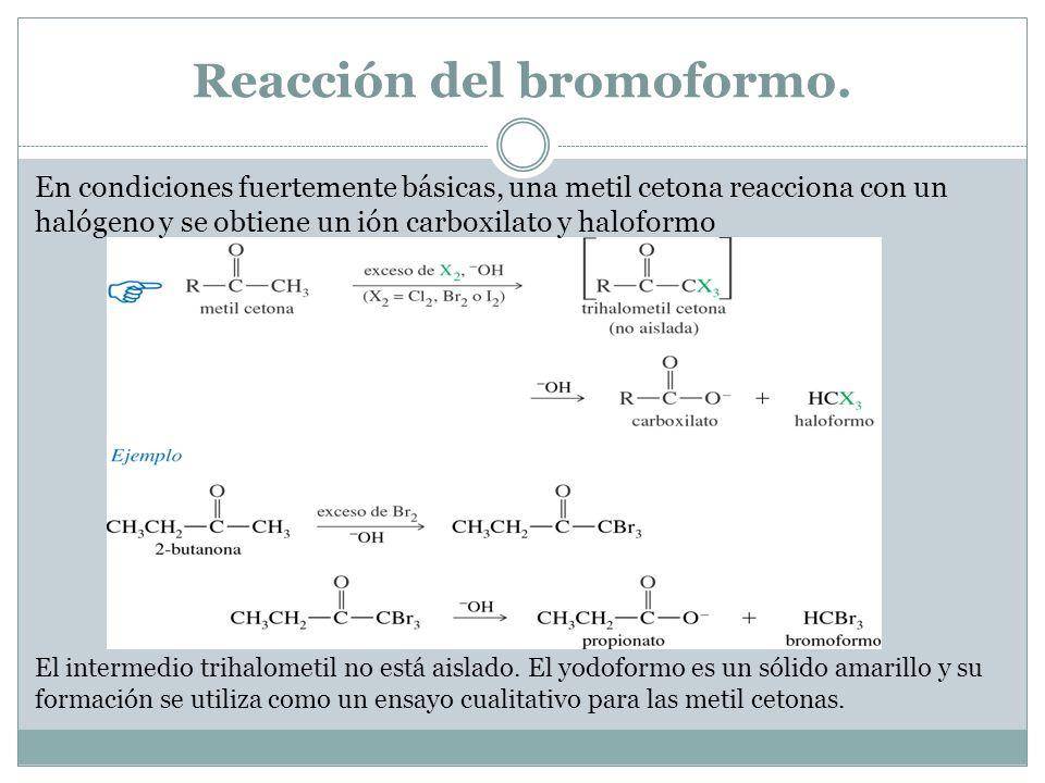 Reacción del bromoformo. En condiciones fuertemente básicas, una metil cetona reacciona con un halógeno y se obtiene un ión carboxilato y haloformo El