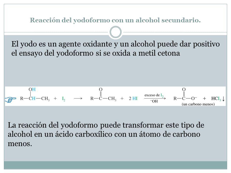 Reacción del yodoformo con un alcohol secundario. El yodo es un agente oxidante y un alcohol puede dar positivo el ensayo del yodoformo si se oxida a