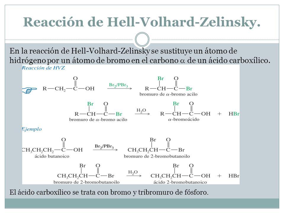 Reacción de Hell-Volhard-Zelinsky. En la reacción de Hell-Volhard-Zelinsky se sustituye un átomo de hidrógeno por un átomo de bromo en el carbono de u