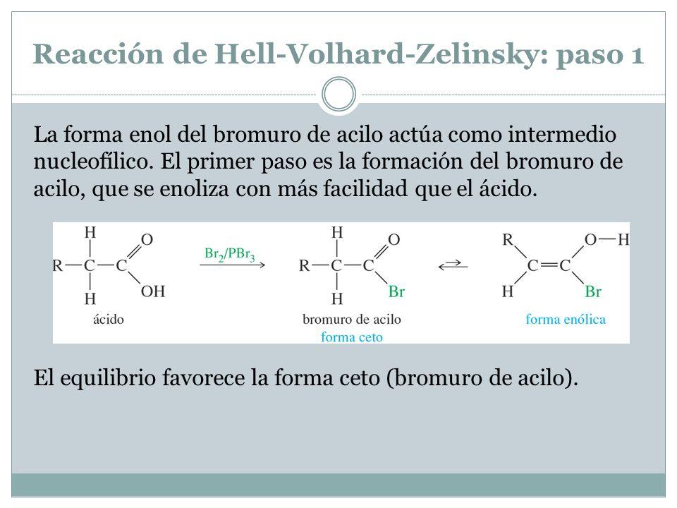 Reacción de Hell-Volhard-Zelinsky: paso 1 La forma enol del bromuro de acilo actúa como intermedio nucleofílico. El primer paso es la formación del br