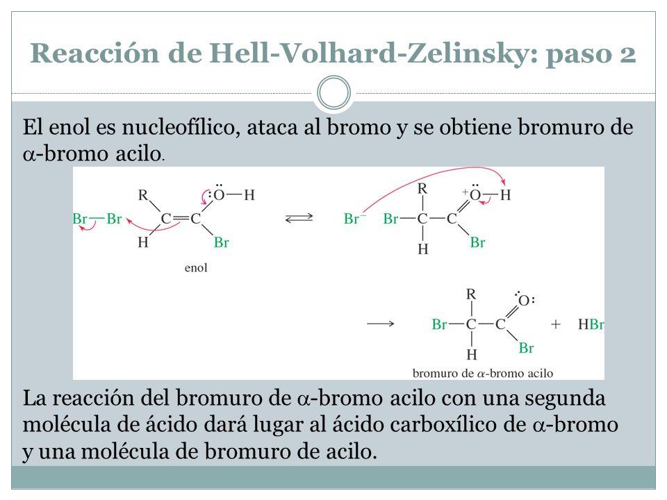 Reacción de Hell-Volhard-Zelinsky: paso 2 El enol es nucleofílico, ataca al bromo y se obtiene bromuro de -bromo acilo. La reacción del bromuro de -br