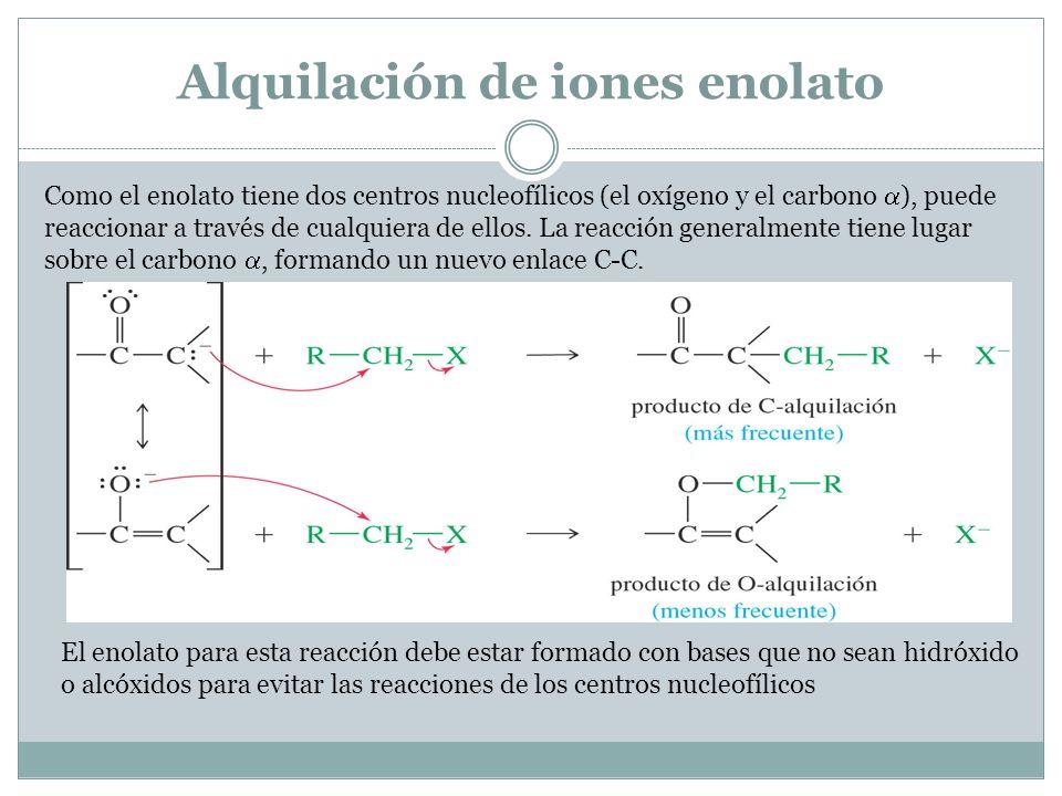 Alquilación de iones enolato Como el enolato tiene dos centros nucleofílicos (el oxígeno y el carbono ), puede reaccionar a través de cualquiera de el