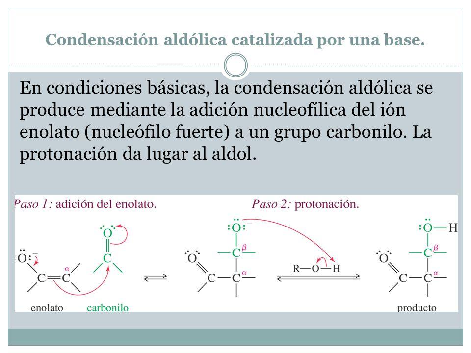 Condensación aldólica catalizada por una base. En condiciones básicas, la condensación aldólica se produce mediante la adición nucleofílica del ión en