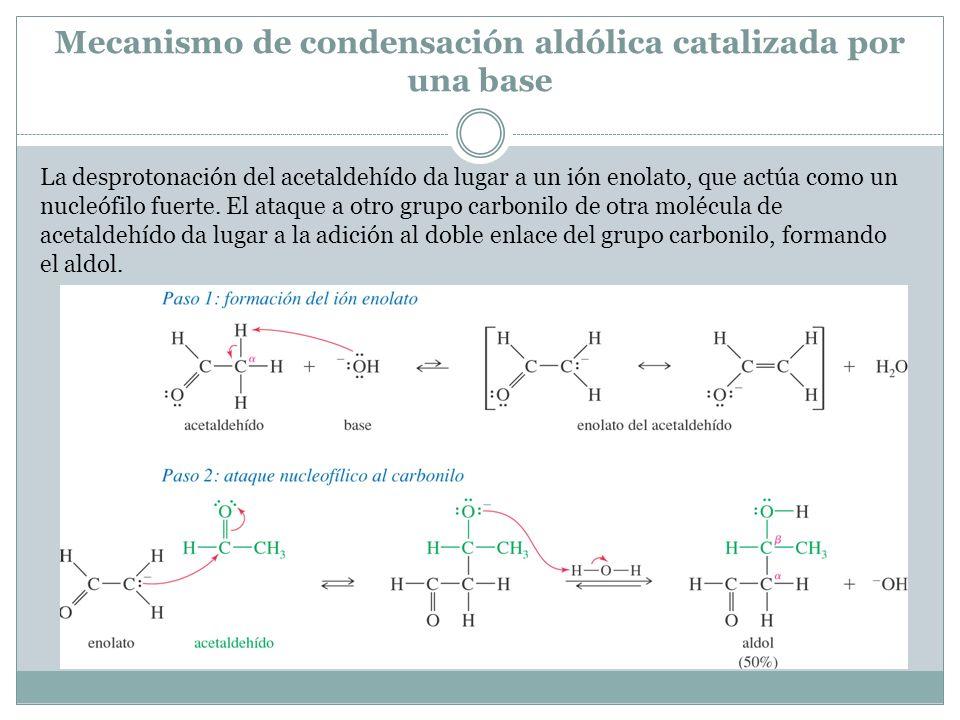 Mecanismo de condensación aldólica catalizada por una base La desprotonación del acetaldehído da lugar a un ión enolato, que actúa como un nucleófilo