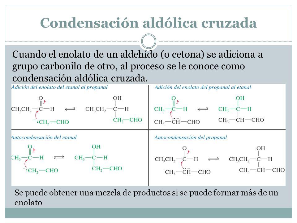 Condensación aldólica cruzada Cuando el enolato de un aldehído (o cetona) se adiciona a grupo carbonilo de otro, al proceso se le conoce como condensa