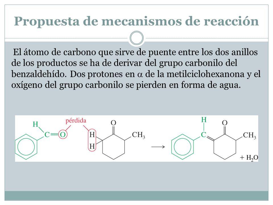 Propuesta de mecanismos de reacción El átomo de carbono que sirve de puente entre los dos anillos de los productos se ha de derivar del grupo carbonil