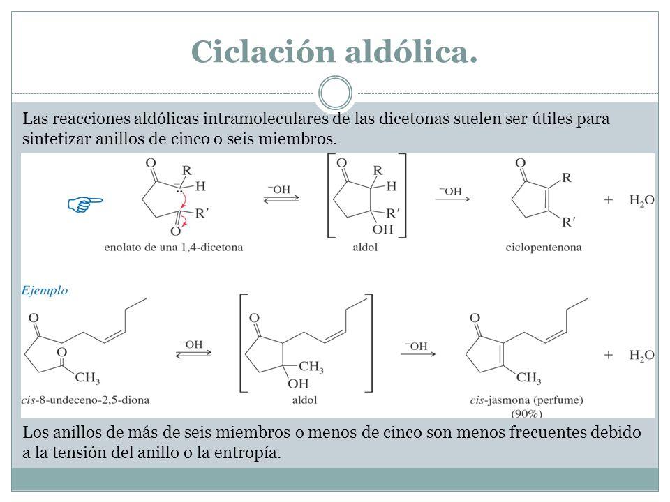 Ciclación aldólica. Las reacciones aldólicas intramoleculares de las dicetonas suelen ser útiles para sintetizar anillos de cinco o seis miembros. Los