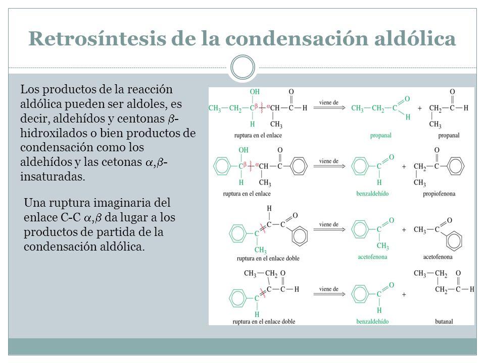 Retrosíntesis de la condensación aldólica Los productos de la reacción aldólica pueden ser aldoles, es decir, aldehídos y centonas - hidroxilados o bi