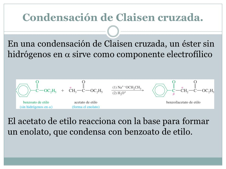 Condensación de Claisen cruzada. En una condensación de Claisen cruzada, un éster sin hidrógenos en sirve como componente electrofílico El acetato de