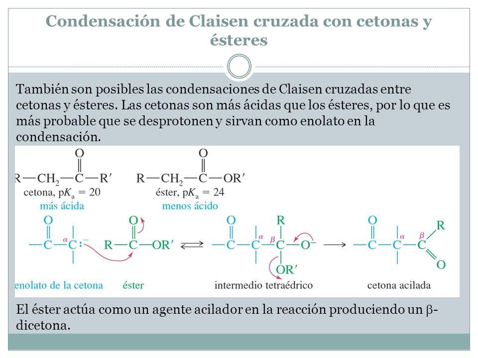 Condensación de Claisen cruzada con cetonas y ésteres También son posibles las condensaciones de Claisen cruzadas entre cetonas y ésteres. Las cetonas