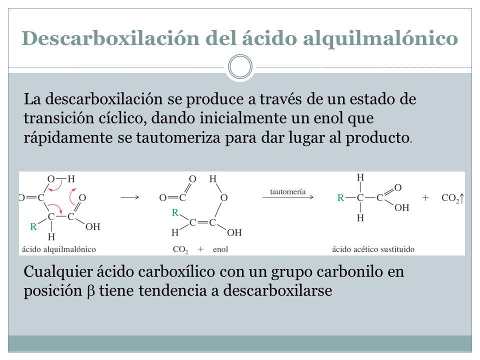 Descarboxilación del ácido alquilmalónico La descarboxilación se produce a través de un estado de transición cíclico, dando inicialmente un enol que r