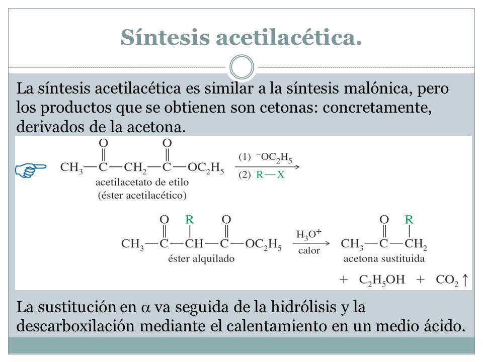 Síntesis acetilacética. La síntesis acetilacética es similar a la síntesis malónica, pero los productos que se obtienen son cetonas: concretamente, de