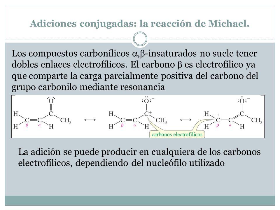Adiciones conjugadas: la reacción de Michael. Los compuestos carbonílicos -insaturados no suele tener dobles enlaces electrofílicos. El carbono es ele