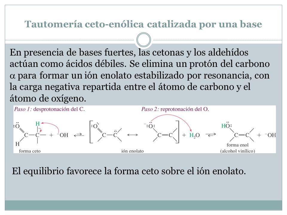 Tautomería ceto-enólica catalizada por una base En presencia de bases fuertes, las cetonas y los aldehídos actúan como ácidos débiles. Se elimina un p